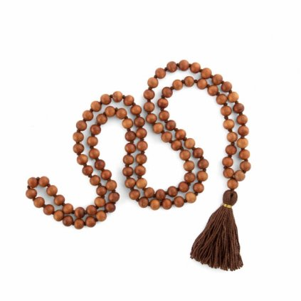 Bodhi Mala Necklace sandalwood odor with brown tassel, beads 108198/S198