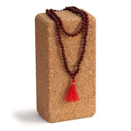 Bodhi Mala Necklace rosewood with red fringe, beads 108198/S200