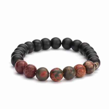 Bodhi Mala bracelet Picasso Jasper with black agate14001/M