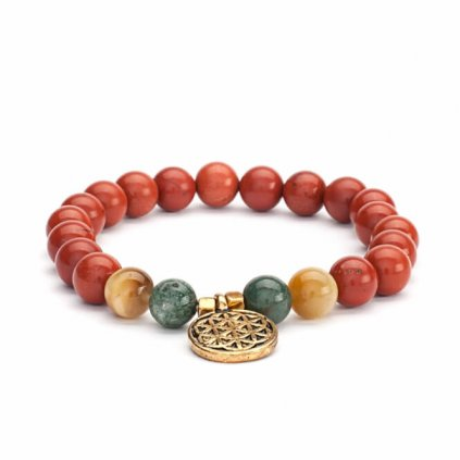 Bodhi Mala bracelet red jasper / agate / tiger eye with flower of life14010