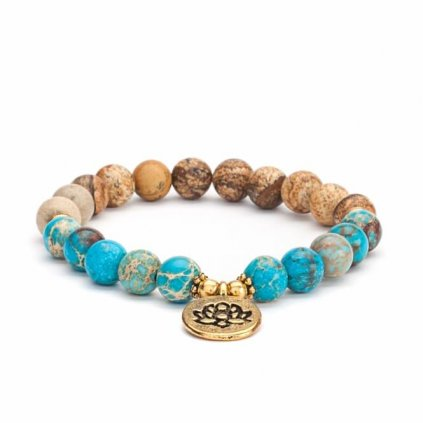 Bodhi Mala bracelet jasper / imperial blue turquoise with a lotus flower14019
