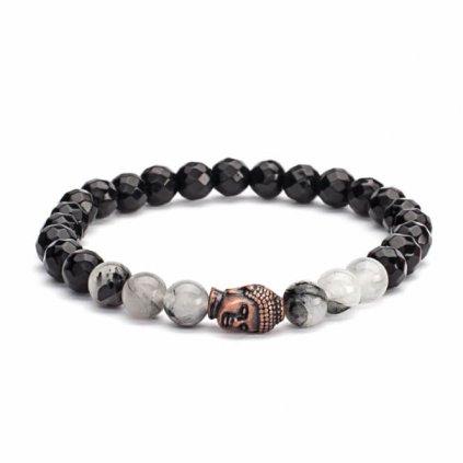 Bodhi Mala Bracelet crystal black / black agate Buddha head14022/M