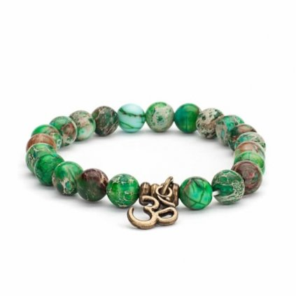 Mala bracelet Bodhi imperial green turquoise amulet with OM14028/M