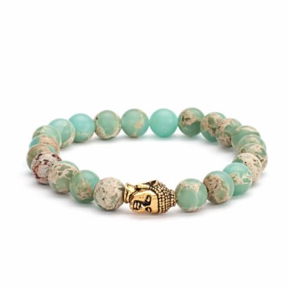 Bodhi Mala Bracelet Serpentine pastel-colored head Buddha14031