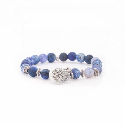 Bodhi Mala bracelet with blue agate, tree of life14049/M