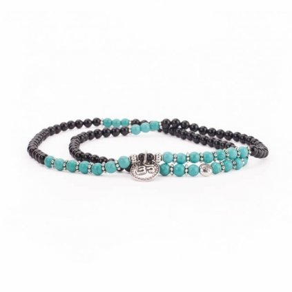 Great Bodhi Mala bracelet turquoise and black agate pendant OM14052