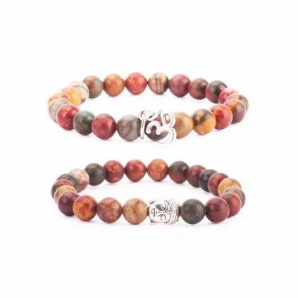 Bodhi Mala Set 2 timber bracelets brown Picasso Jasper Stone198/S204