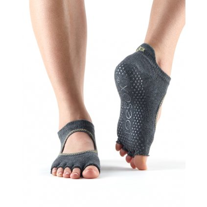 Toesox Halftoe Bellarina Grip anti-slip socks (Charcoal)14370/S