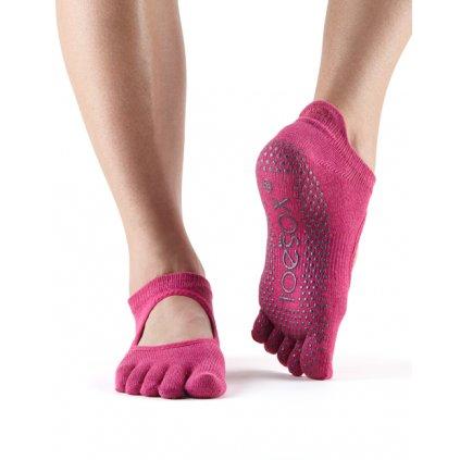 Toesox Fulltone Bellarina Grip anti-slip socks Raspberry14880/S