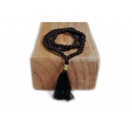 Flexity Mala Lava Stone necklace with black tassel, beads 108
