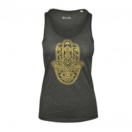 WTAOGx YogaKleidung bodhi TankTopHamsaHand dunkelgrau vorne