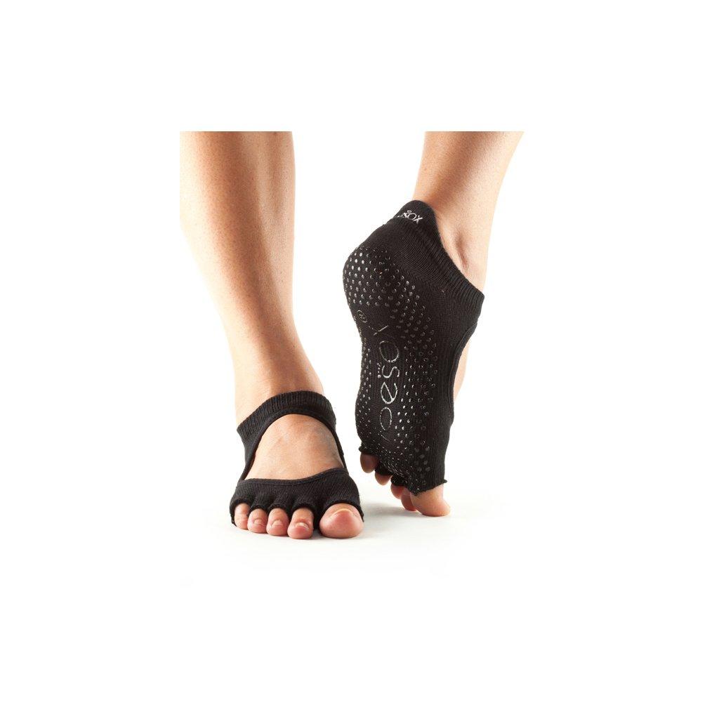 Toesox Halftoe Bellarina Grip protiskluzové ponožky (černé)