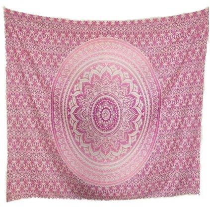 mandala nastenna plachta na stenu ruzova blanket