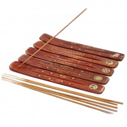 AWG Stojan na vonné tyčinky mangové dřevo 25 cm - 6 vzorů