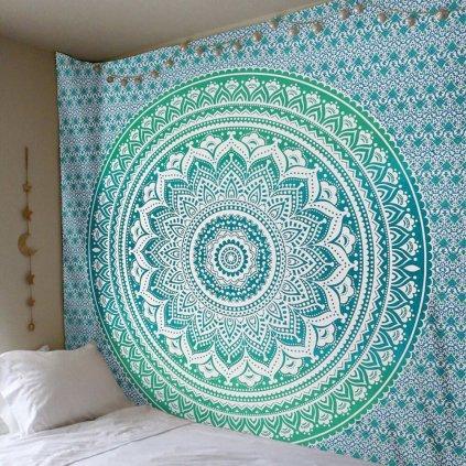 Nástěnná Indická Mandala plachta zelená 210x150 cm