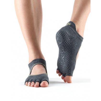 Toesox Halftoe Bellarina Grip protiskluzové ponožky (Charcoal)