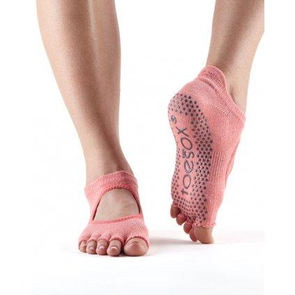 Toesox Halftoe Bellarina Grip protiskluzové ponožky (Melon)