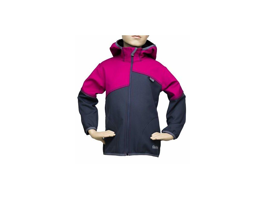 Dětská softshellová bunda Fantom dvoubarevná šedorůžová