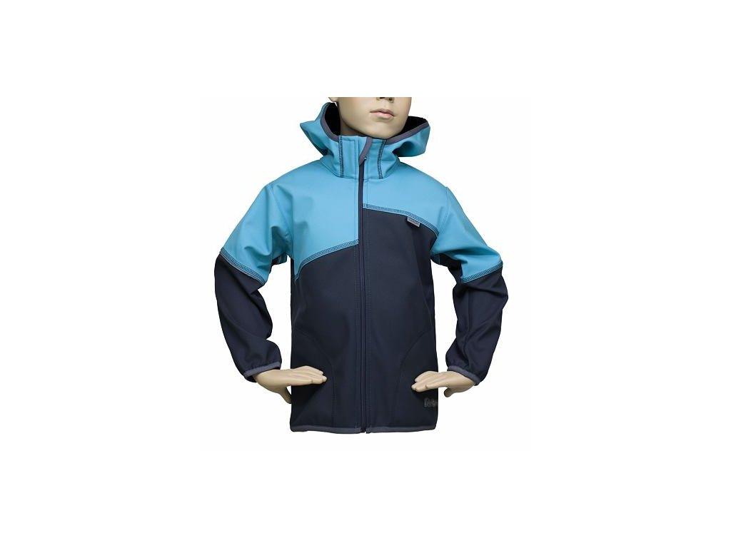 Dětská softshellová bunda Fantom dvoubarevná šedotyrkysová