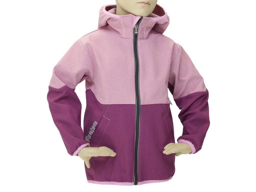 Dětská softshellová bunda Fantom dvoubarevná vínovorůžová