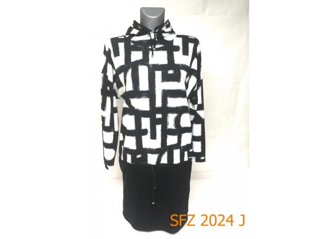 Dámské přepásané šaty s kapucí bíločerné