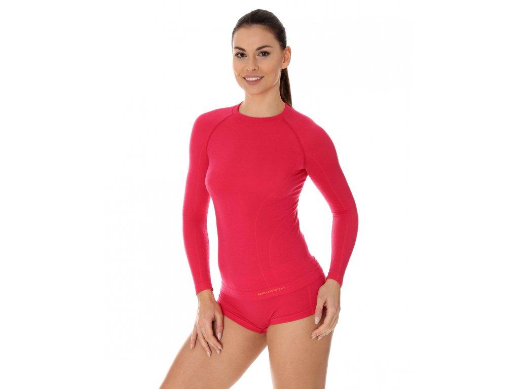 Dámské Active wool tričko s dlouhým rukávem Raspberry