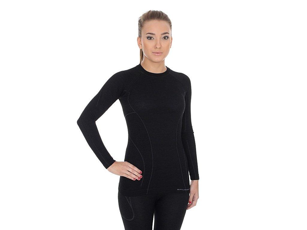 Dámské Active wool tričko s dlouhým rukávem Black