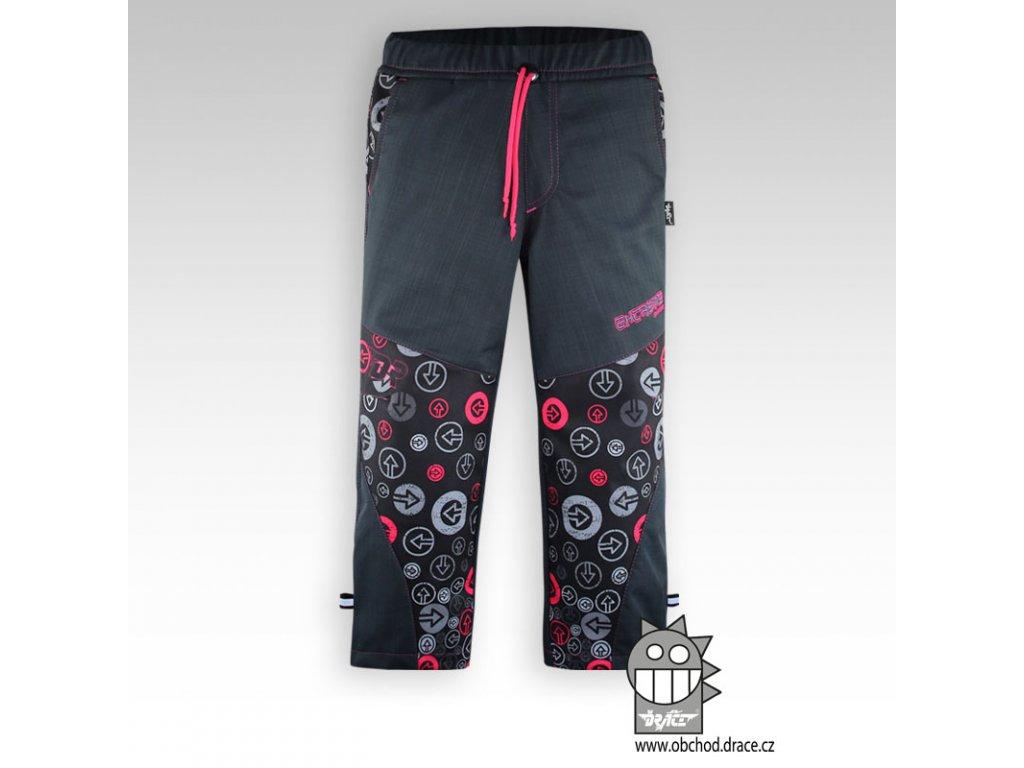 Dětské softshellové kalhoty fleece Antracit pink