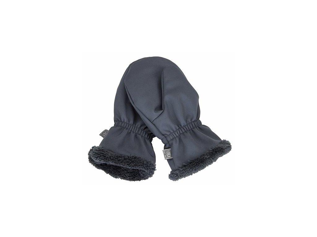 Dětské softshellové rukavice s kožíškem FANTOM šedé