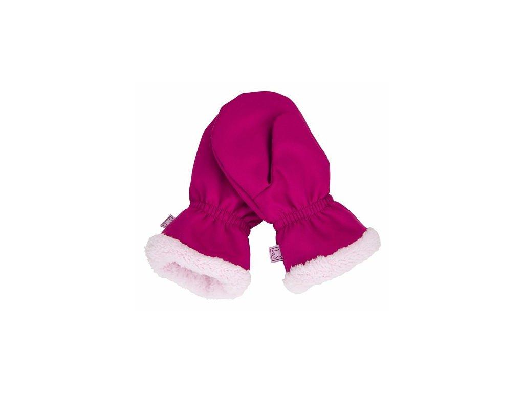 Dětské softshellové rukavice s kožíškem FANTOM růžové