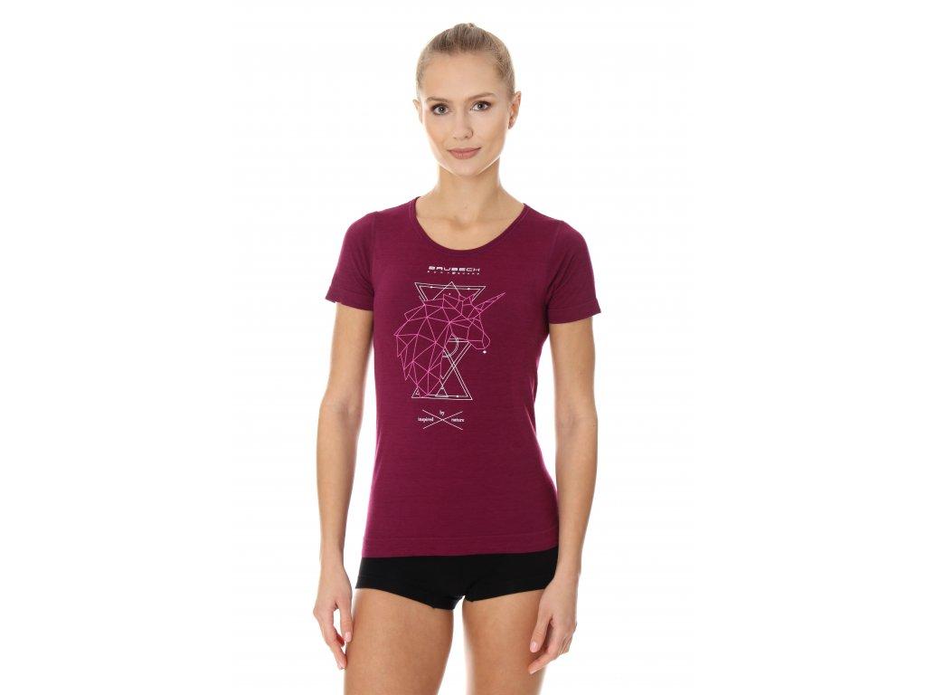 Brubeck dámské tričko krátký rukáv Outdoor wool jednorožec