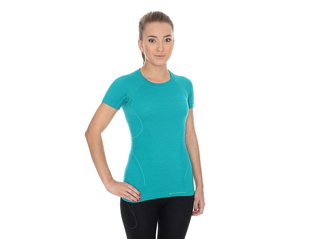 Brubeck dámské tričko s krátkým rukávem Active wool smaragdové