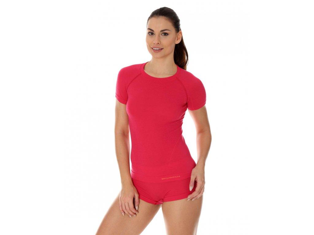 Brubeck dámské tričko s krátkým rukávem Active wool malinové