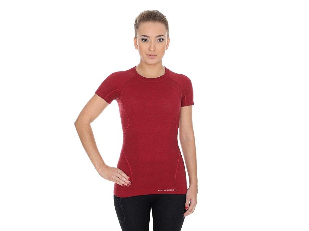 Brubeck dámské tričko s krátkým rukávem Active wool burgundy