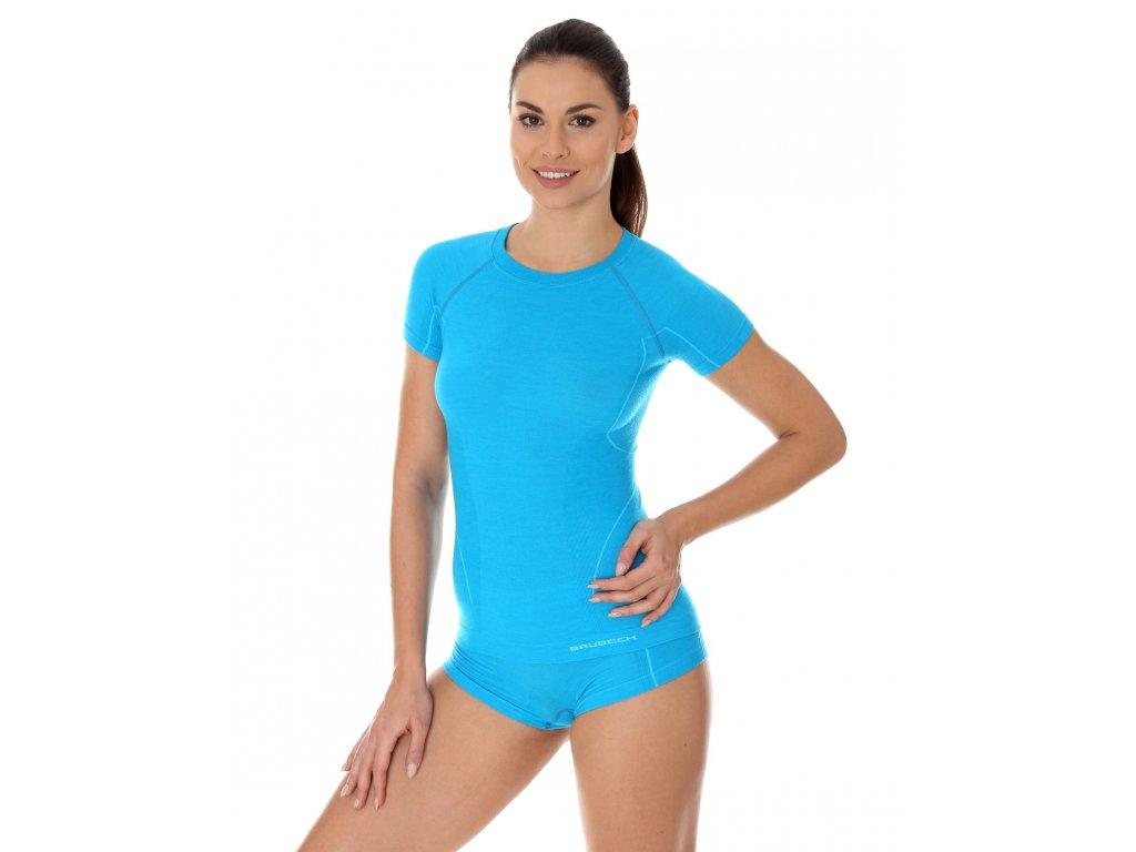 Brubeck dámské tričko s krátkým rukávem Active wool light blue
