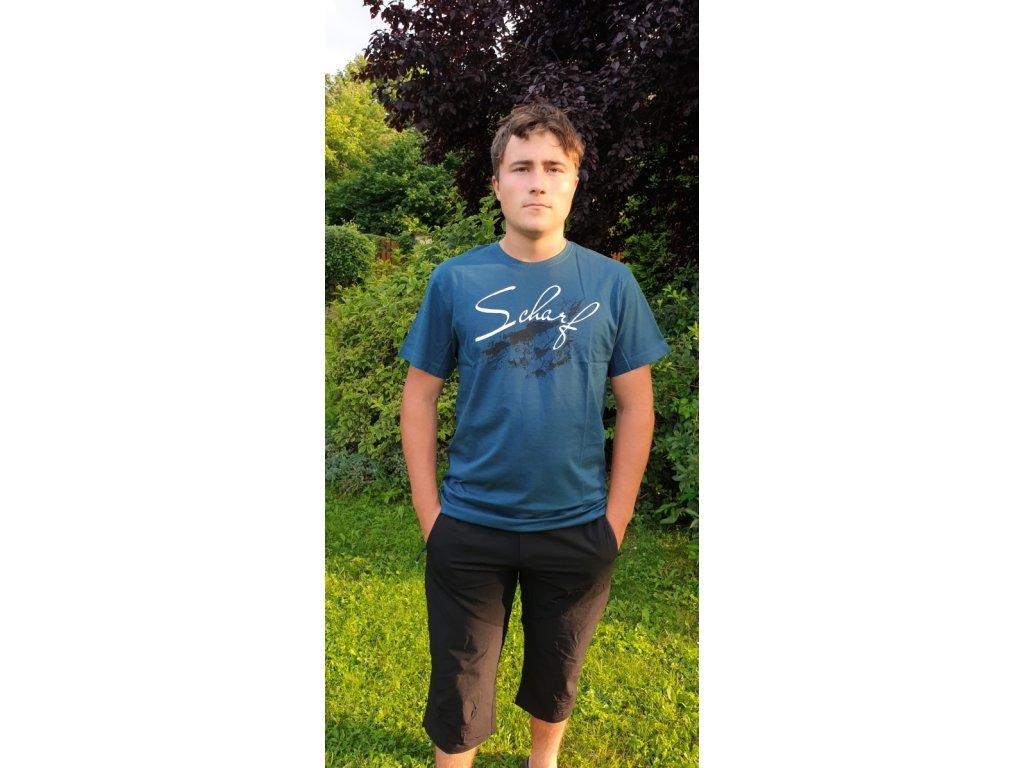 Pánské tričko Scharf s krátkým rukávem střední logo petrol