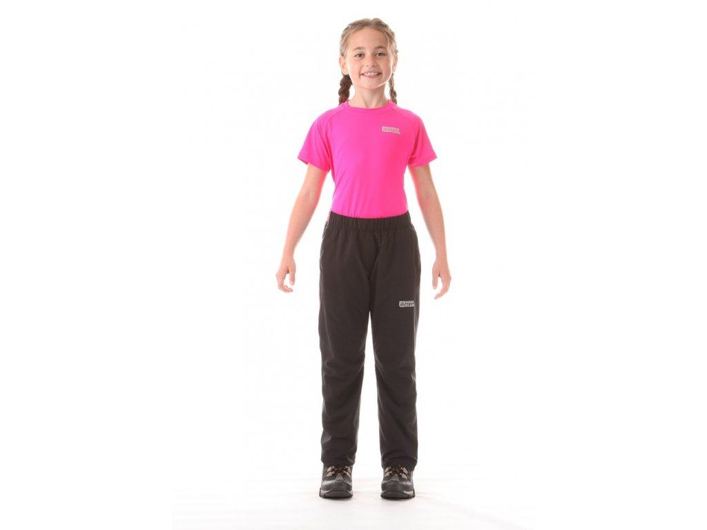 Dívčí zateplené kalhoty černé s růžovou NBFPK5924