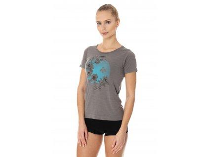 Brubeck dámské tričko krátký rukáv Outdoor wool květ