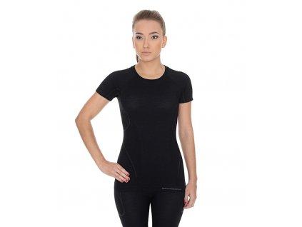 Brubeck dámské tričko s krátkým rukávem Active wool černé