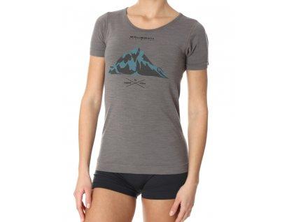 Brubeck dámské tričko krátký rukáv Outdoor wool grey hory