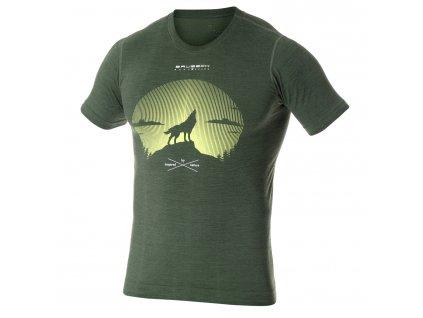 Brubeck pánské tričko krátký rukáv Outdoor wool green vlk
