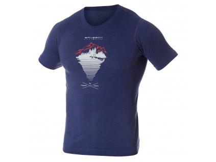 Brubeck pánské tričko krátký rukáv Outdoor wool blue hory