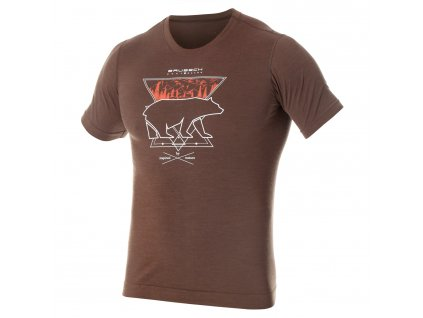 Brubeck pánské tričko krátký rukáv Outdoor wool brown medvěd