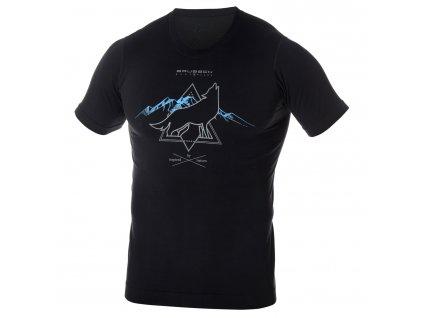 Brubeck pánské tričko krátký rukáv Outdoor wool black vlk