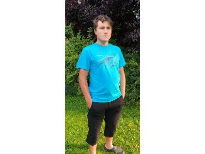 Pánské tričko Scharf s krátkým rukávem střední logo tyrkys