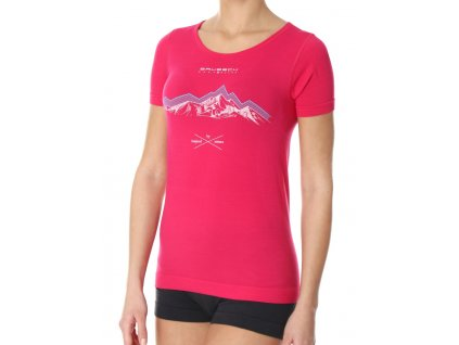 Brubeck dámské tričko krátký rukáv Outdoor wool malinové hory