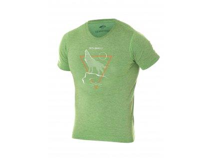 Brubeck pánské tričko krátký rukáv Outdoor wool vlk green