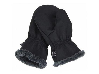 Dětské softshellové rukavice s kožíškem FANTOM (Size 5, Barva černé)