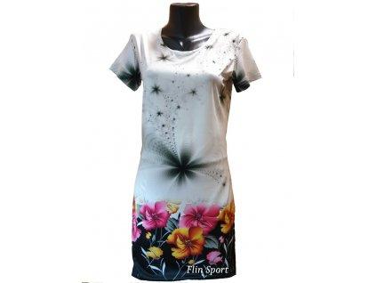 Dámské letní šaty s květinovým potiskem bílé