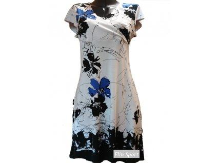 Dámské letní šaty s tmavě modrými květy